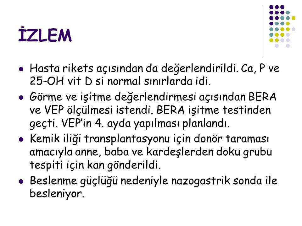İZLEM Hasta rikets açısından da değerlendirildi. Ca, P ve 25-OH vit D si normal sınırlarda idi.
