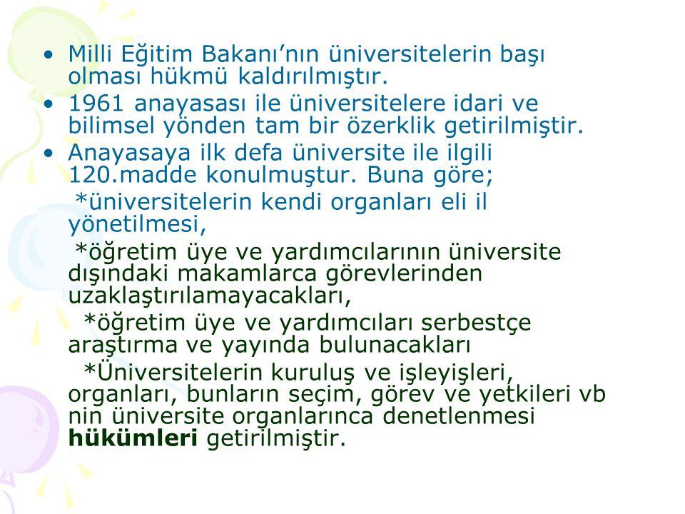 Milli Eğitim Bakanı'nın üniversitelerin başı olması hükmü kaldırılmıştır.