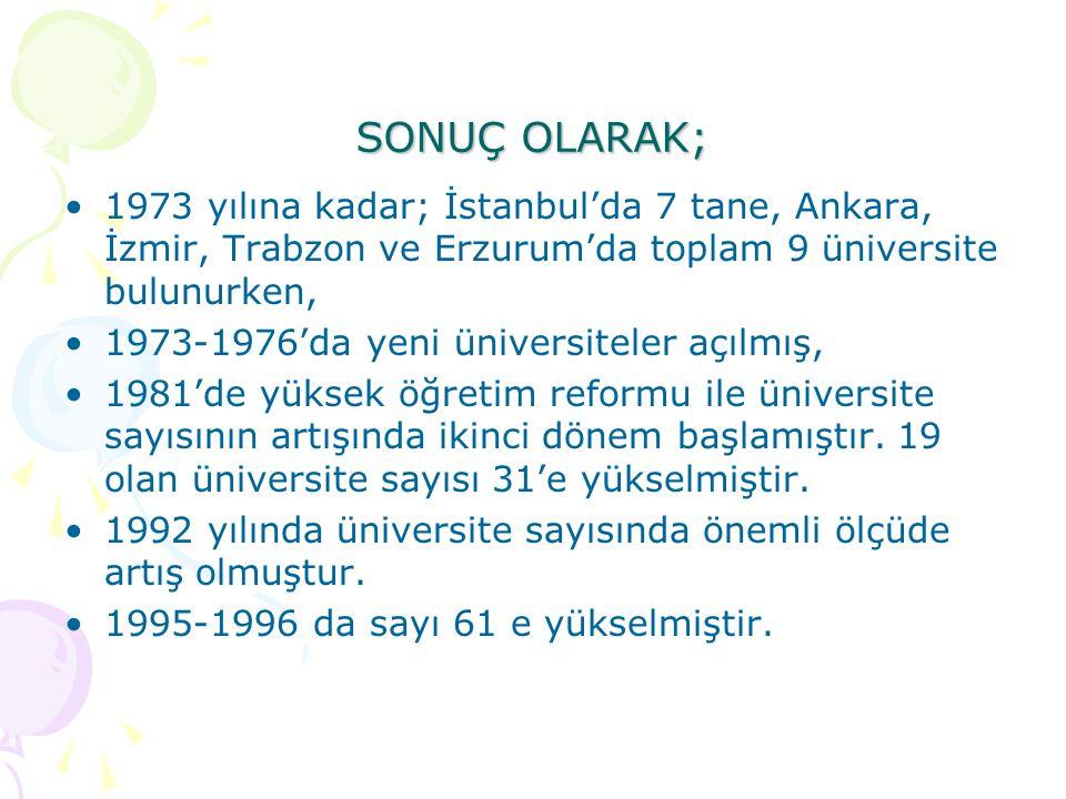 SONUÇ OLARAK; 1973 yılına kadar; İstanbul'da 7 tane, Ankara, İzmir, Trabzon ve Erzurum'da toplam 9 üniversite bulunurken,
