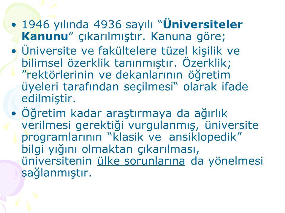 1946 yılında 4936 sayılı Üniversiteler Kanunu çıkarılmıştır