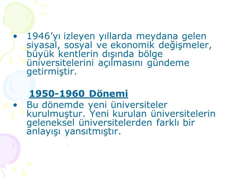 1946'yı izleyen yıllarda meydana gelen siyasal, sosyal ve ekonomik değişmeler, büyük kentlerin dışında bölge üniversitelerini açılmasını gündeme getirmiştir.