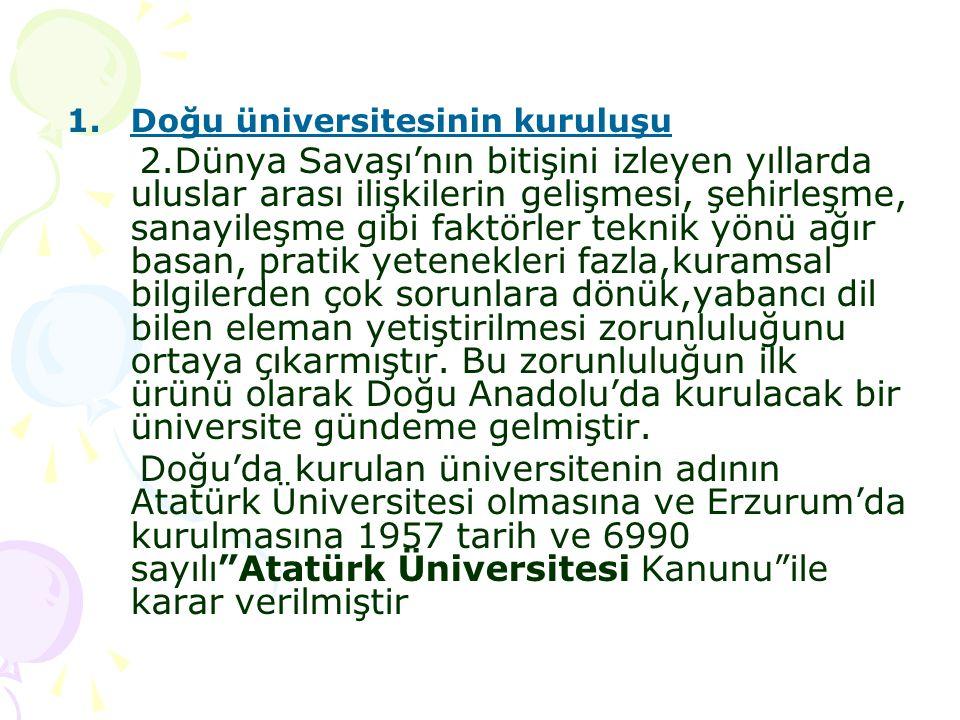 Doğu üniversitesinin kuruluşu