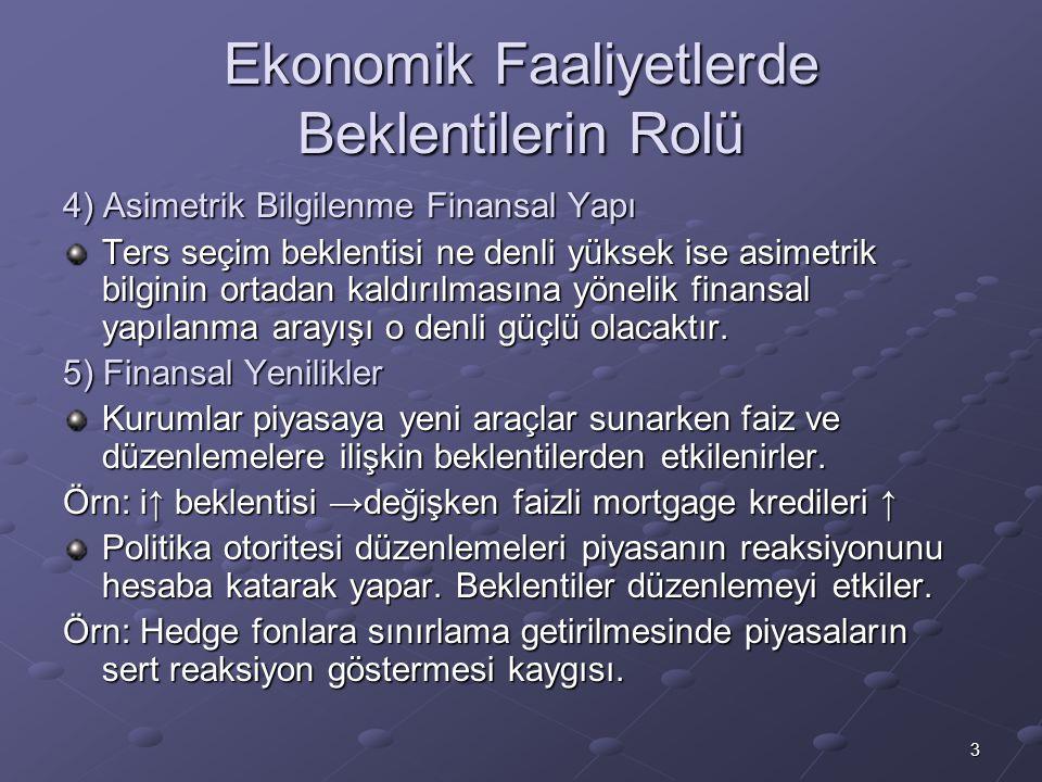 Ekonomik Faaliyetlerde Beklentilerin Rolü
