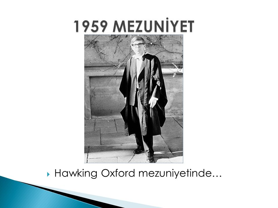 1959 MEZUNİYET Hawking Oxford mezuniyetinde…
