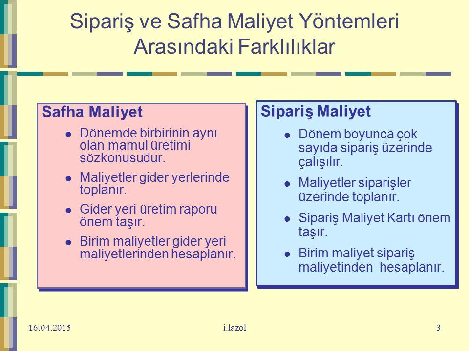 Sipariş ve Safha Maliyet Yöntemleri Arasındaki Farklılıklar