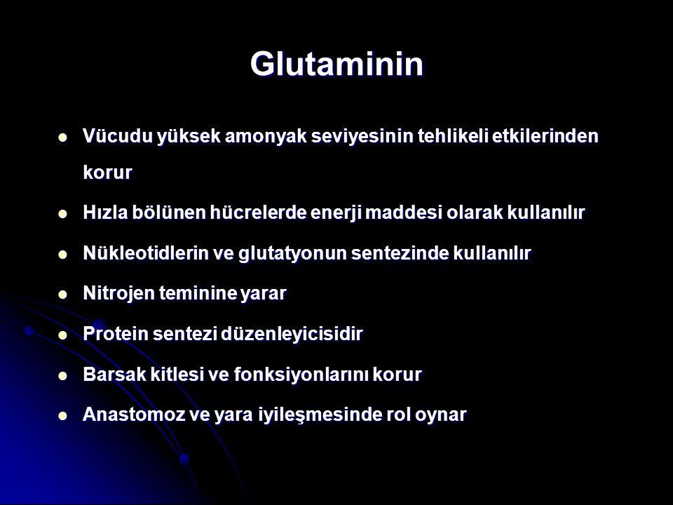 Glutaminin Vücudu yüksek amonyak seviyesinin tehlikeli etkilerinden korur. Hızla bölünen hücrelerde enerji maddesi olarak kullanılır.