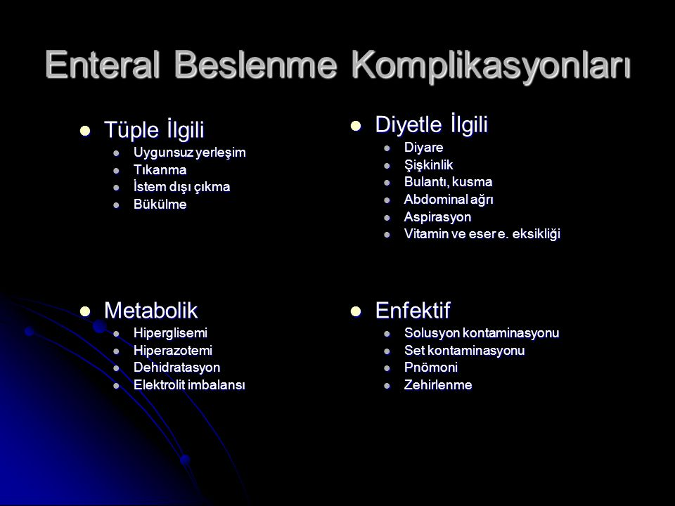 Enteral Beslenme Komplikasyonları