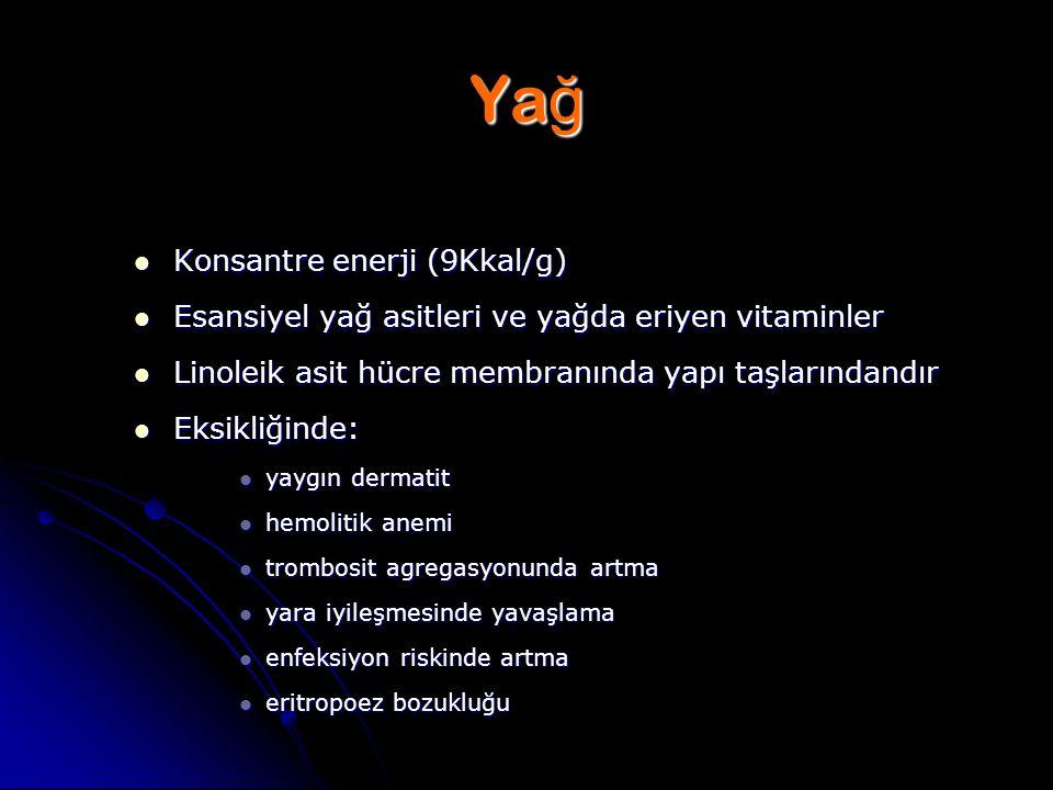 Yağ Konsantre enerji (9Kkal/g)