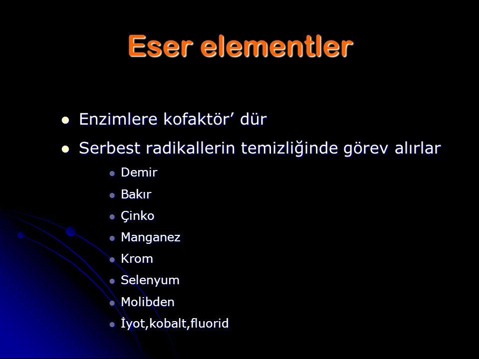 Eser elementler Enzimlere kofaktör' dür