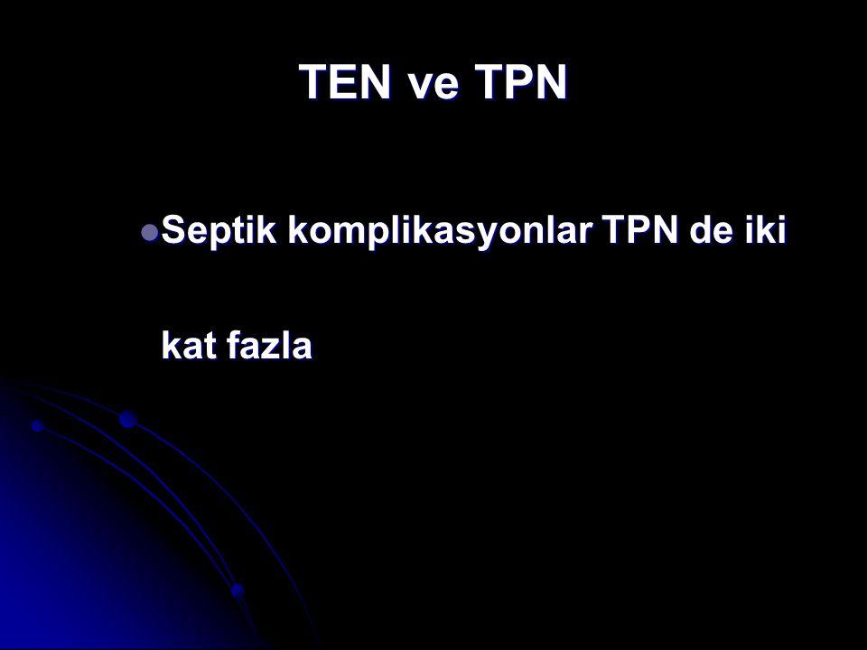 TEN ve TPN Septik komplikasyonlar TPN de iki kat fazla