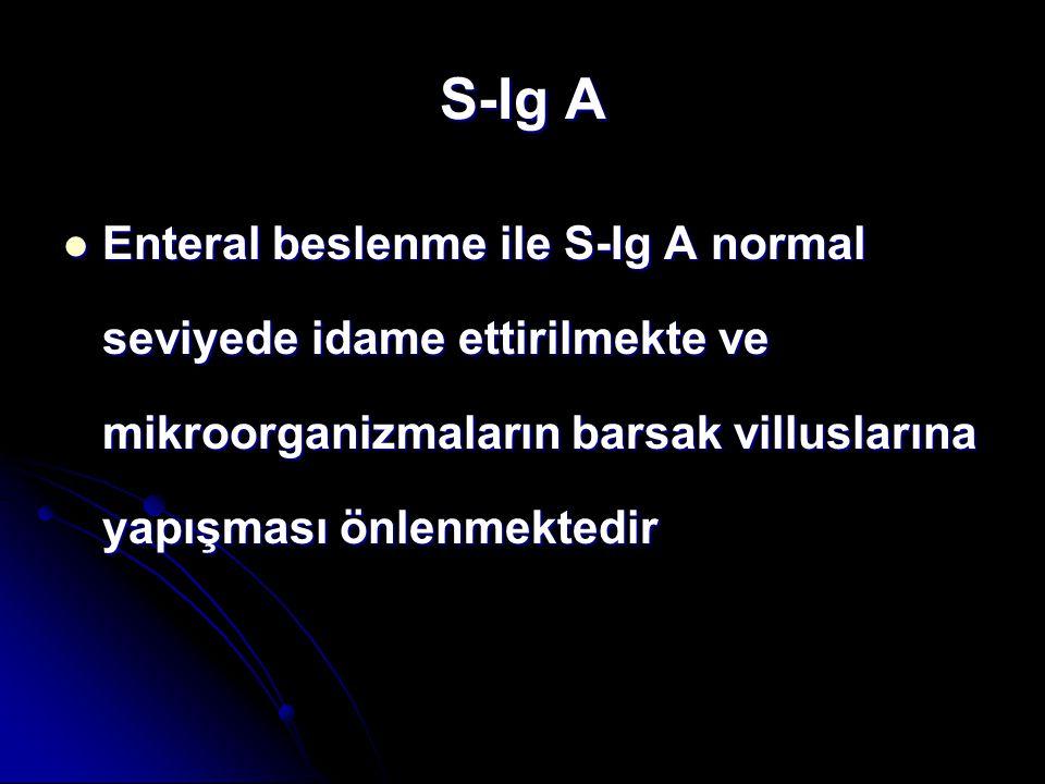 S-Ig A Enteral beslenme ile S-Ig A normal seviyede idame ettirilmekte ve mikroorganizmaların barsak villuslarına yapışması önlenmektedir.