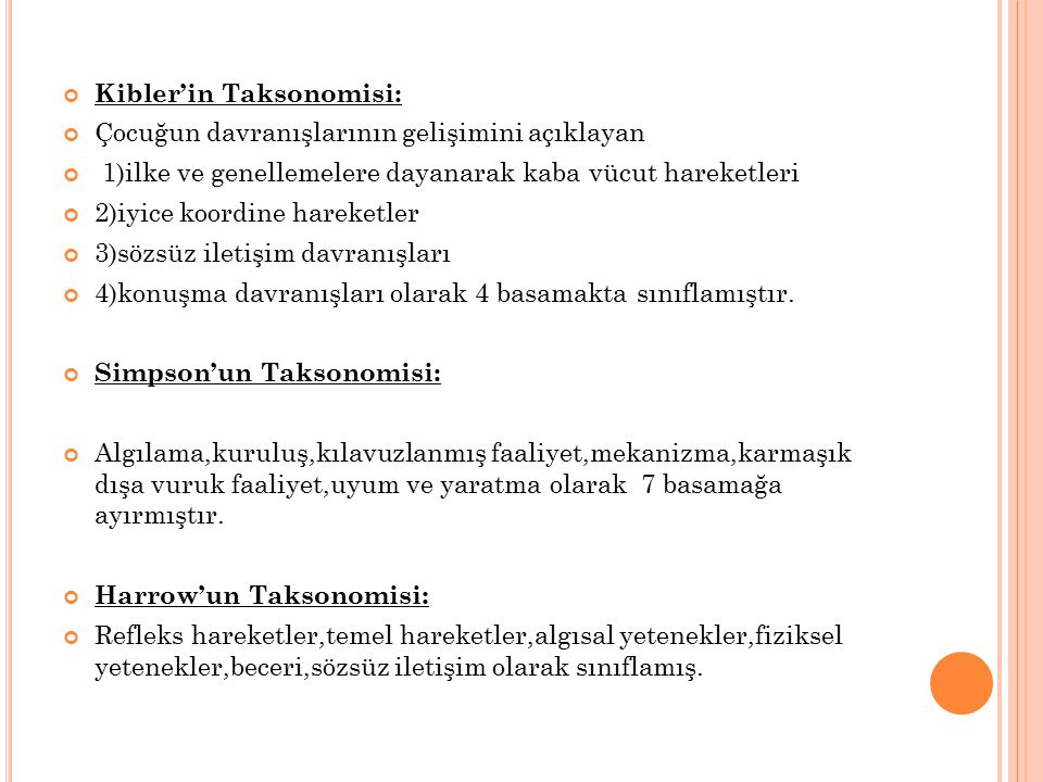 Kibler'in Taksonomisi: