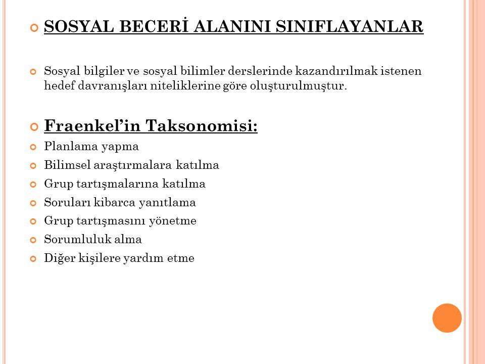 SOSYAL BECERİ ALANINI SINIFLAYANLAR