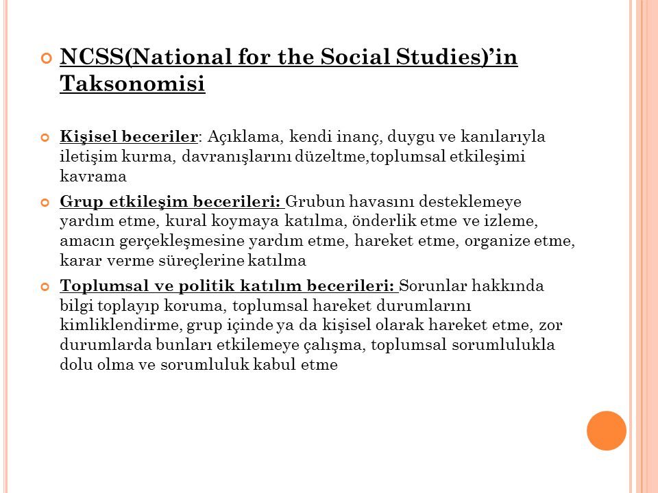 NCSS(National for the Social Studies)'in Taksonomisi