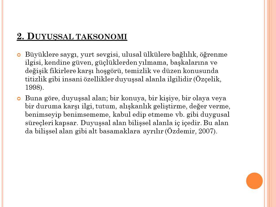 2. Duyuşsal taksonomi