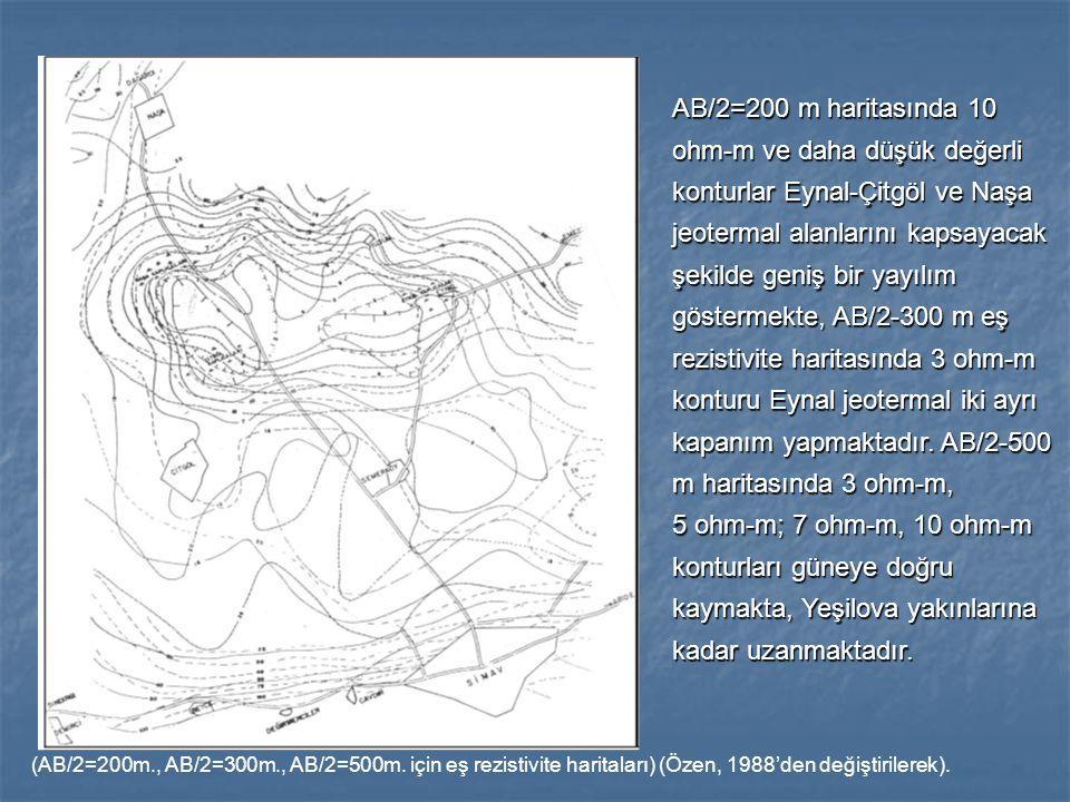 AB/2=200 m haritasında 10 ohm-m ve daha düşük değerli konturlar Eynal-Çitgöl ve Naşa jeotermal alanlarını kapsayacak şekilde geniş bir yayılım göstermekte, AB/2-300 m eş rezistivite haritasında 3 ohm-m konturu Eynal jeotermal iki ayrı kapanım yapmaktadır. AB/2-500 m haritasında 3 ohm-m,