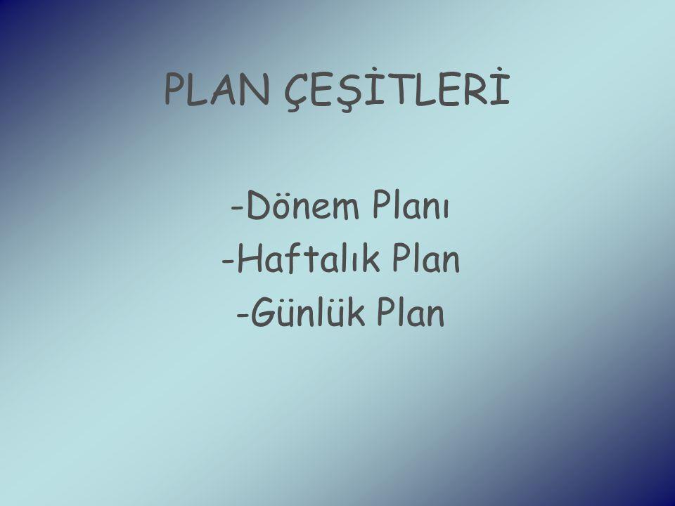 Dönem Planı Haftalık Plan Günlük Plan