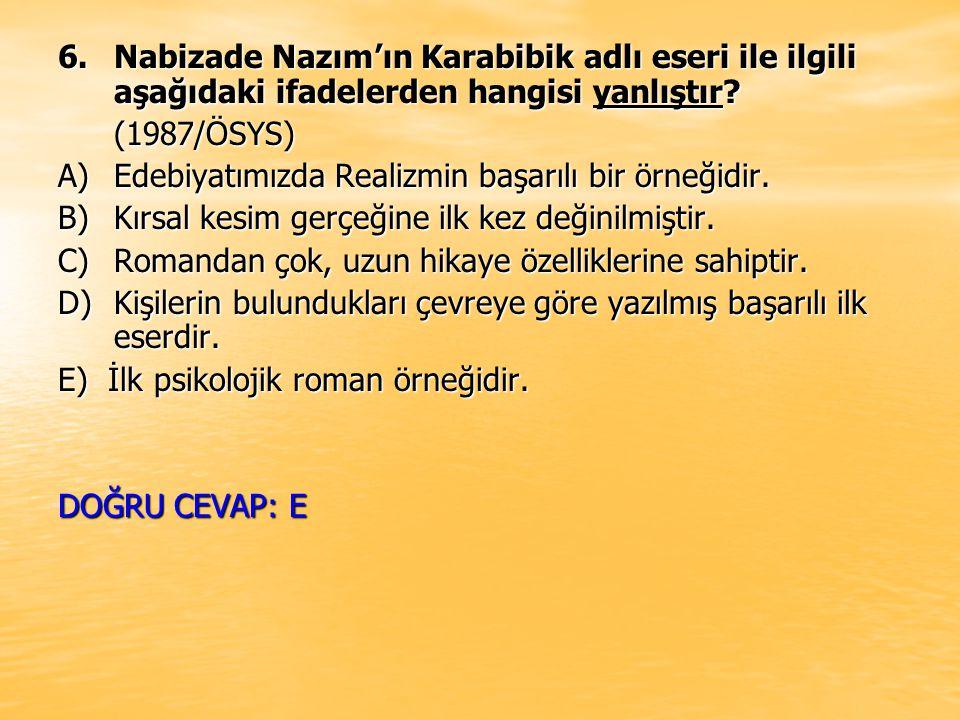 6. Nabizade Nazım'ın Karabibik adlı eseri ile ilgili aşağıdaki ifadelerden hangisi yanlıştır