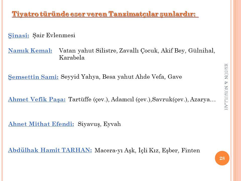 Tiyatro türünde eser veren Tanzimatçılar şunlardır: