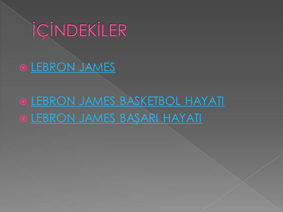 İÇİNDEKİLER LEBRON JAMES LEBRON JAMES BASKETBOL HAYATI