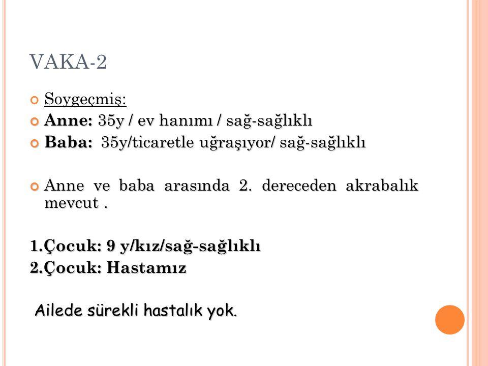 VAKA-2 Soygeçmiş: Anne: 35y / ev hanımı / sağ-sağlıklı