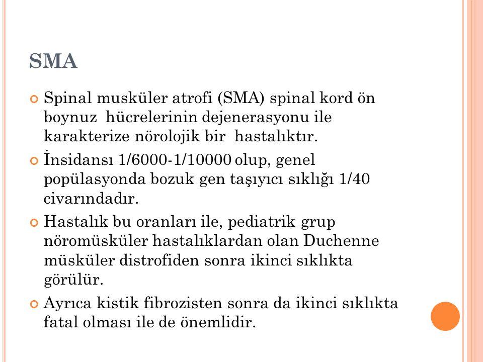 SMA Spinal musküler atrofi (SMA) spinal kord ön boynuz hücrelerinin dejenerasyonu ile karakterize nörolojik bir hastalıktır.