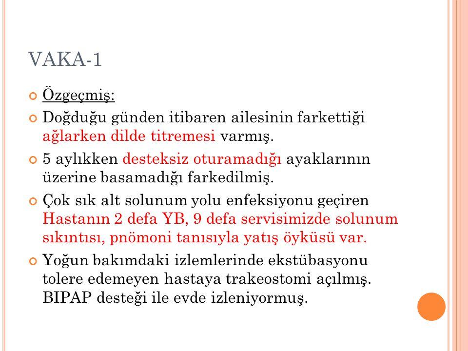 VAKA-1 Özgeçmiş: Doğduğu günden itibaren ailesinin farkettiği ağlarken dilde titremesi varmış.