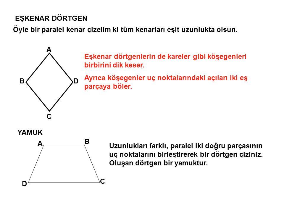 EŞKENAR DÖRTGEN Öyle bir paralel kenar çizelim ki tüm kenarları eşit uzunlukta olsun. A.