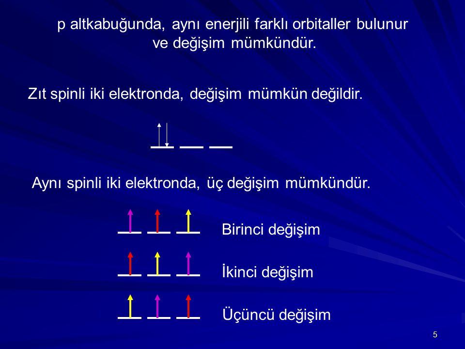 p altkabuğunda, aynı enerjili farklı orbitaller bulunur