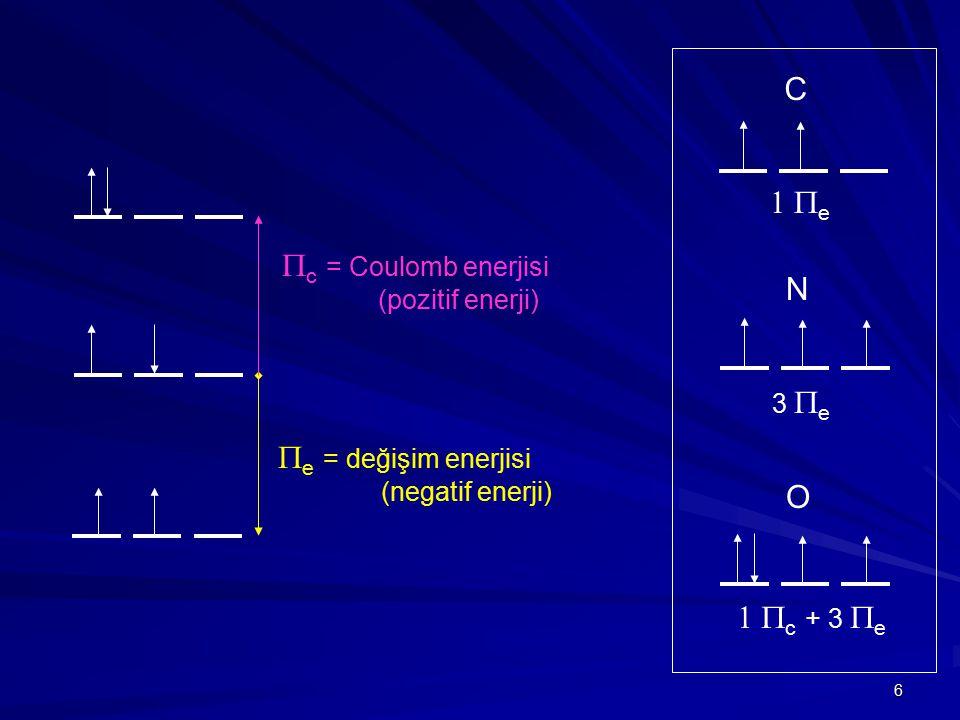 C 1 Pe Pc = Coulomb enerjisi N Pe = değişim enerjisi O 1 Pc + 3 Pe
