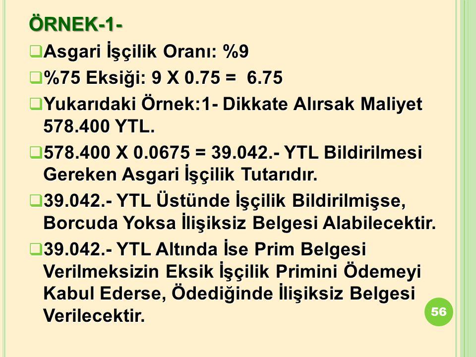 ÖRNEK-1- Asgari İşçilik Oranı: %9 %75 Eksiği: 9 X 0.75 = 6.75