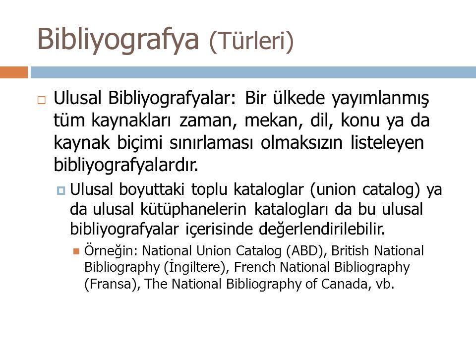 Bibliyografya (Türleri)