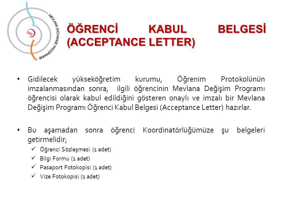 ÖĞRENCİ KABUL BELGESİ (ACCEPTANCE LETTER)