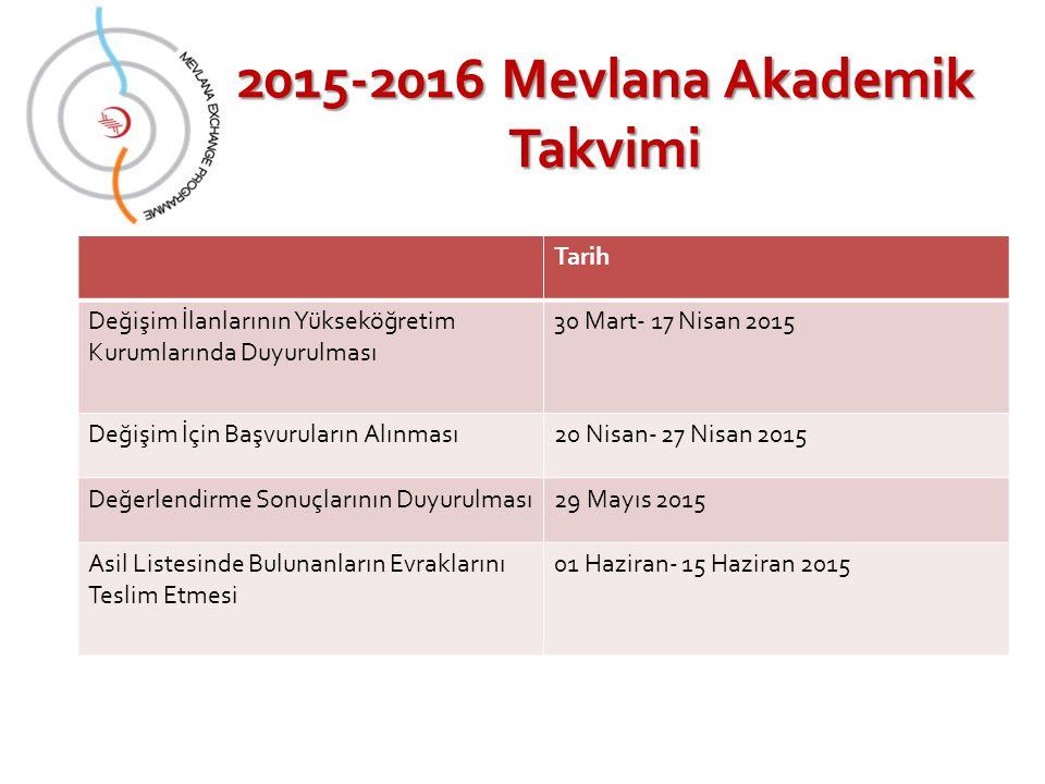 2015-2016 Mevlana Akademik Takvimi
