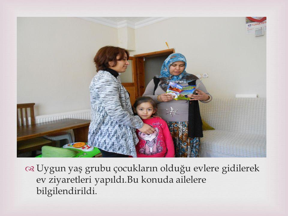 Uygun yaş grubu çocukların olduğu evlere gidilerek ev ziyaretleri yapıldı.Bu konuda ailelere bilgilendirildi.