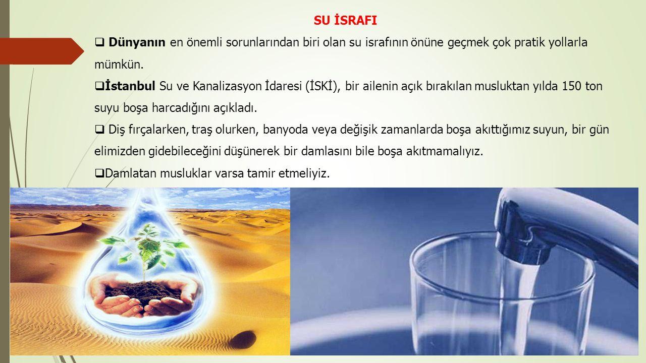 SU İSRAFI Dünyanın en önemli sorunlarından biri olan su israfının önüne geçmek çok pratik yollarla mümkün.