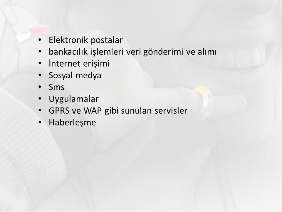Elektronik postalar bankacılık işlemleri veri gönderimi ve alımı. İnternet erişimi. Sosyal medya.
