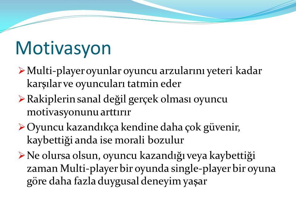 Motivasyon Multi-player oyunlar oyuncu arzularını yeteri kadar karşılar ve oyuncuları tatmin eder.