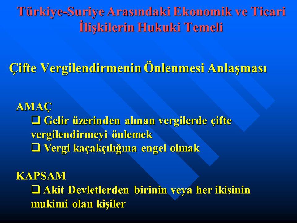 Türkiye-Suriye Arasındaki Ekonomik ve Ticari İlişkilerin Hukuki Temeli
