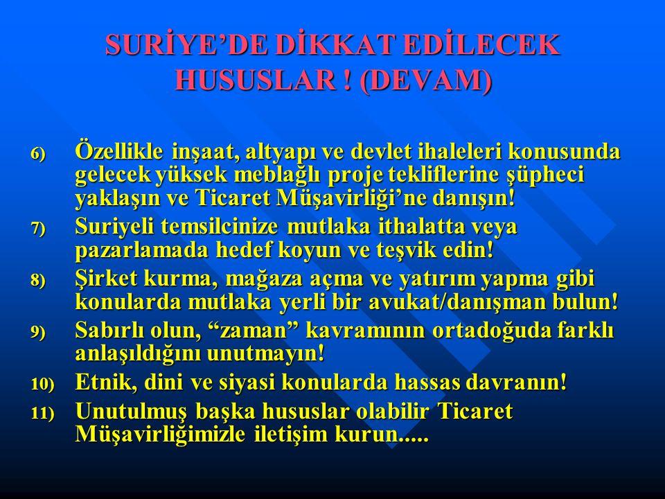 SURİYE'DE DİKKAT EDİLECEK HUSUSLAR ! (DEVAM)