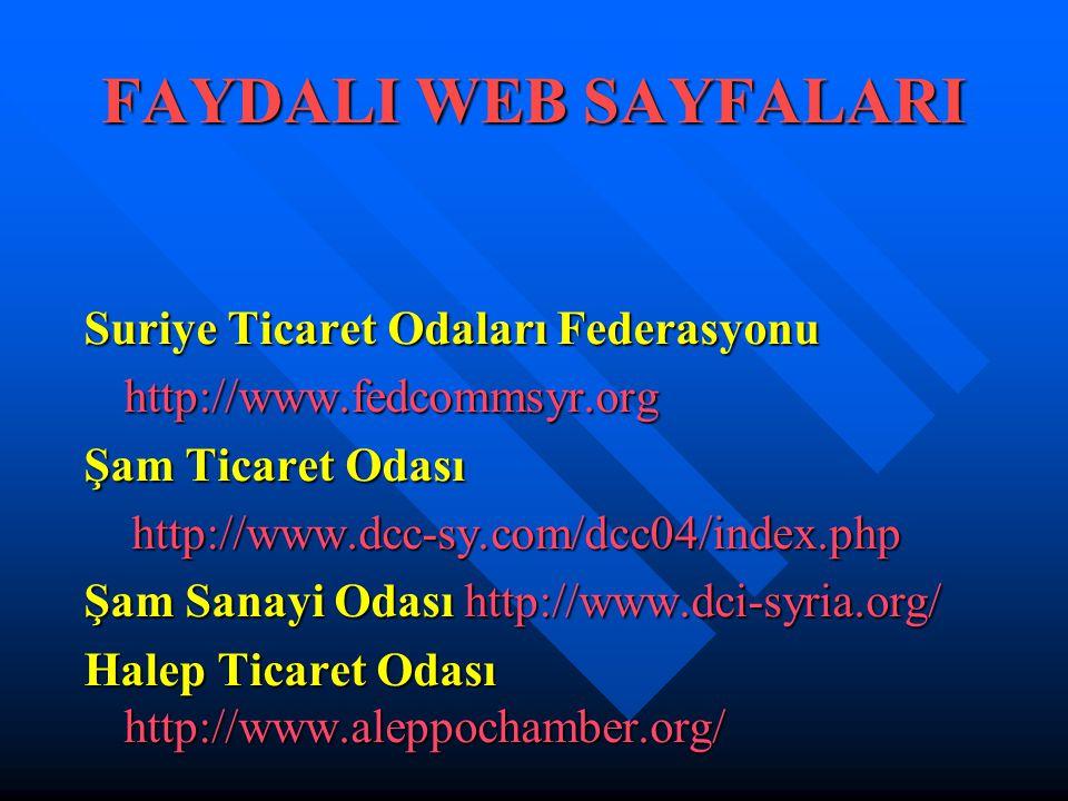 FAYDALI WEB SAYFALARI Suriye Ticaret Odaları Federasyonu