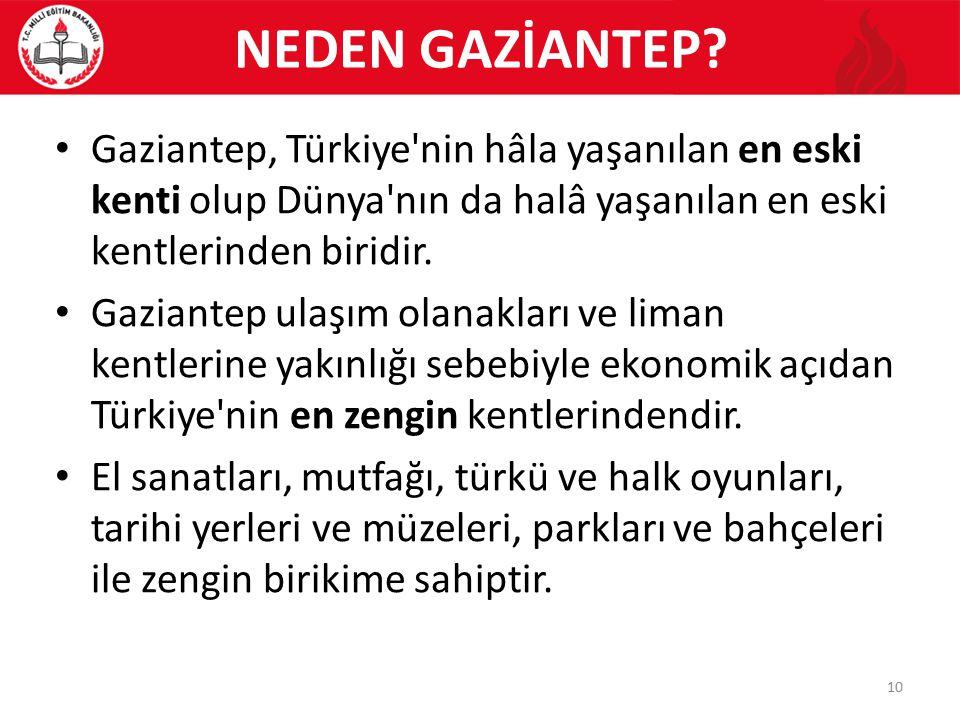 NEDEN GAZİANTEP Gaziantep, Türkiye nin hâla yaşanılan en eski kenti olup Dünya nın da halâ yaşanılan en eski kentlerinden biridir.