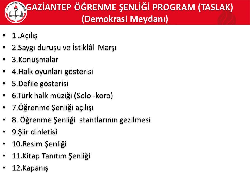 GAZİANTEP ÖĞRENME ŞENLİĞİ PROGRAM (TASLAK) (Demokrasi Meydanı)