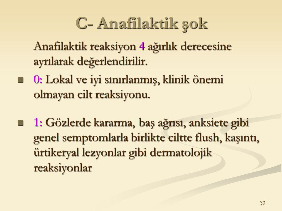 C- Anafilaktik şok Anafilaktik reaksiyon 4 ağırlık derecesine ayrılarak değerlendirilir.