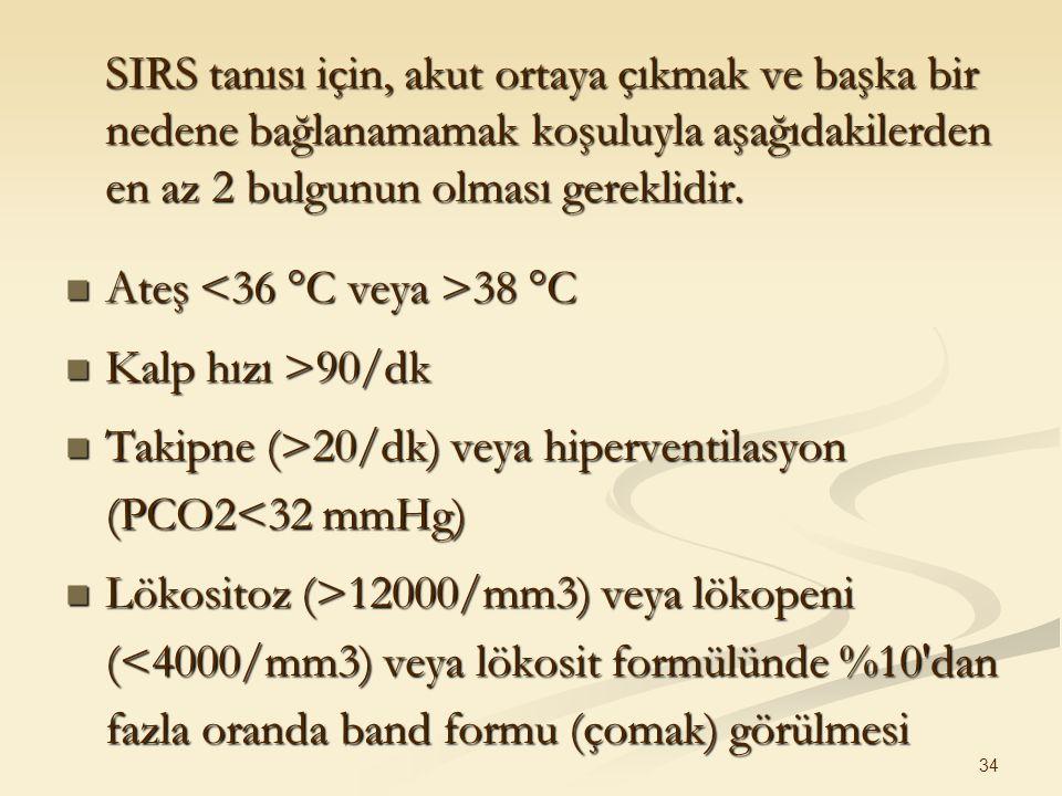SIRS tanısı için, akut ortaya çıkmak ve başka bir nedene bağlanamamak koşuluyla aşağıdakilerden en az 2 bulgunun olması gereklidir.