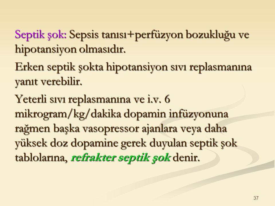 Septik şok: Sepsis tanısı+perfüzyon bozukluğu ve hipotansiyon olmasıdır.