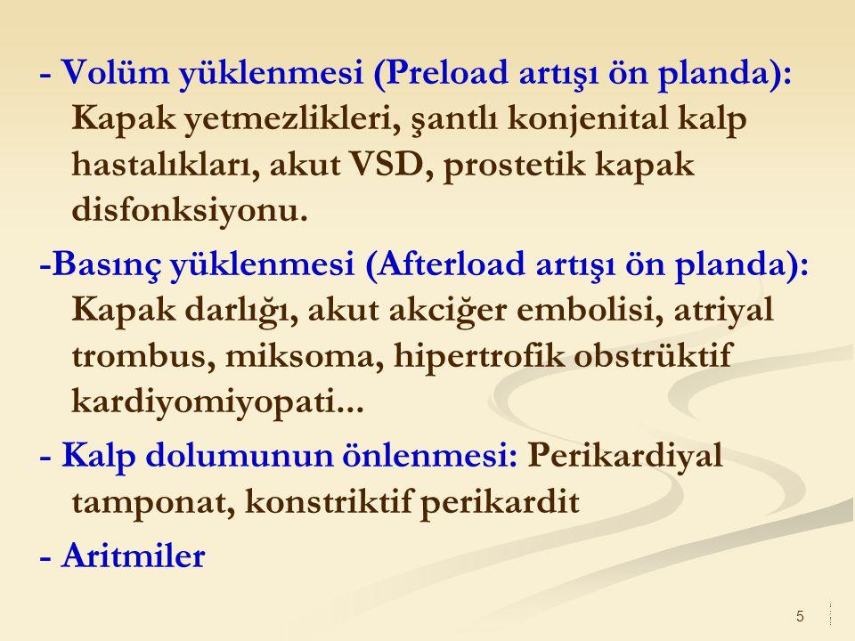 - Volüm yüklenmesi (Preload artışı ön planda): Kapak yetmezlikleri, şantlı konjenital kalp hastalıkları, akut VSD, prostetik kapak disfonksiyonu.