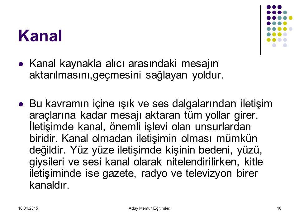 Kanal Kanal kaynakla alıcı arasındaki mesajın aktarılmasını,geçmesini sağlayan yoldur.