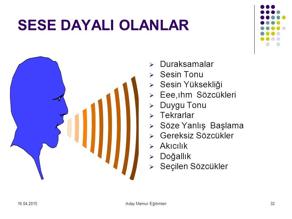 SESE DAYALI OLANLAR Duraksamalar Sesin Tonu Sesin Yüksekliği