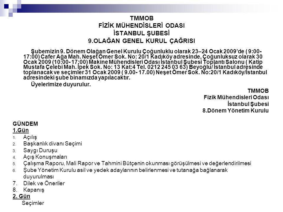 TMMOB FİZİK MÜHENDİSLERİ ODASI İSTANBUL ŞUBESİ 9